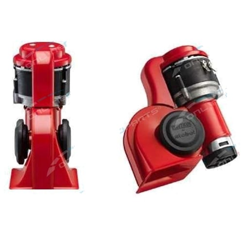 Stebel BRIO BP3 Nautilus Air Horn Kit Red 12 Volt 139dB LOUD Switchable Alternating + Straight Blast