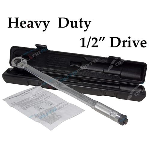 "1/2"" Drive Torque Wrench Adjustable Tension Tool in Plastic Case Micrometer New"