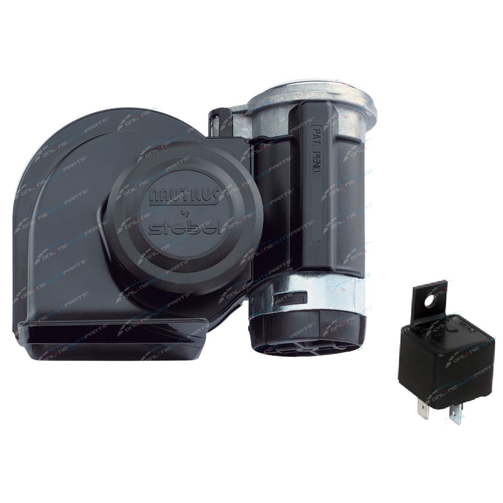 Stebel Nautilus Truck Air Horn Black 24 Volt 139dB Loud New with Relay + 24v Compressor