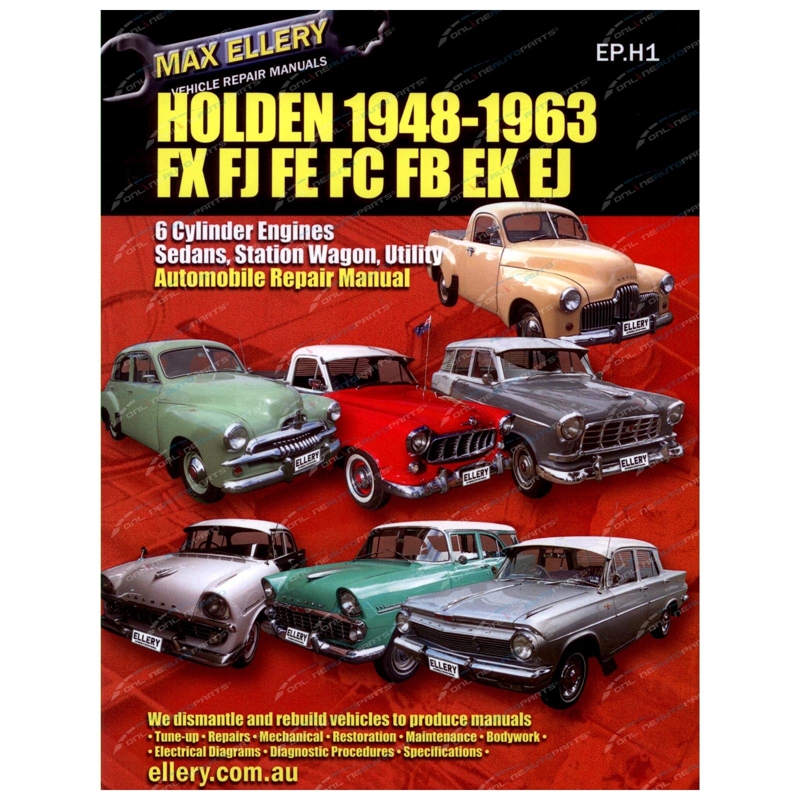 Workshop Manual Holden FX FJ FE FC FB EK EJ 1948-1963 Factory Repair Book Ellery