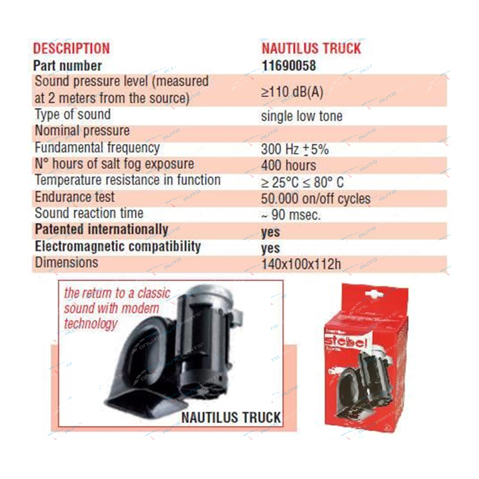 stebel nautilus compact truck car air horn 12volt 300hz deep 110d. Black Bedroom Furniture Sets. Home Design Ideas