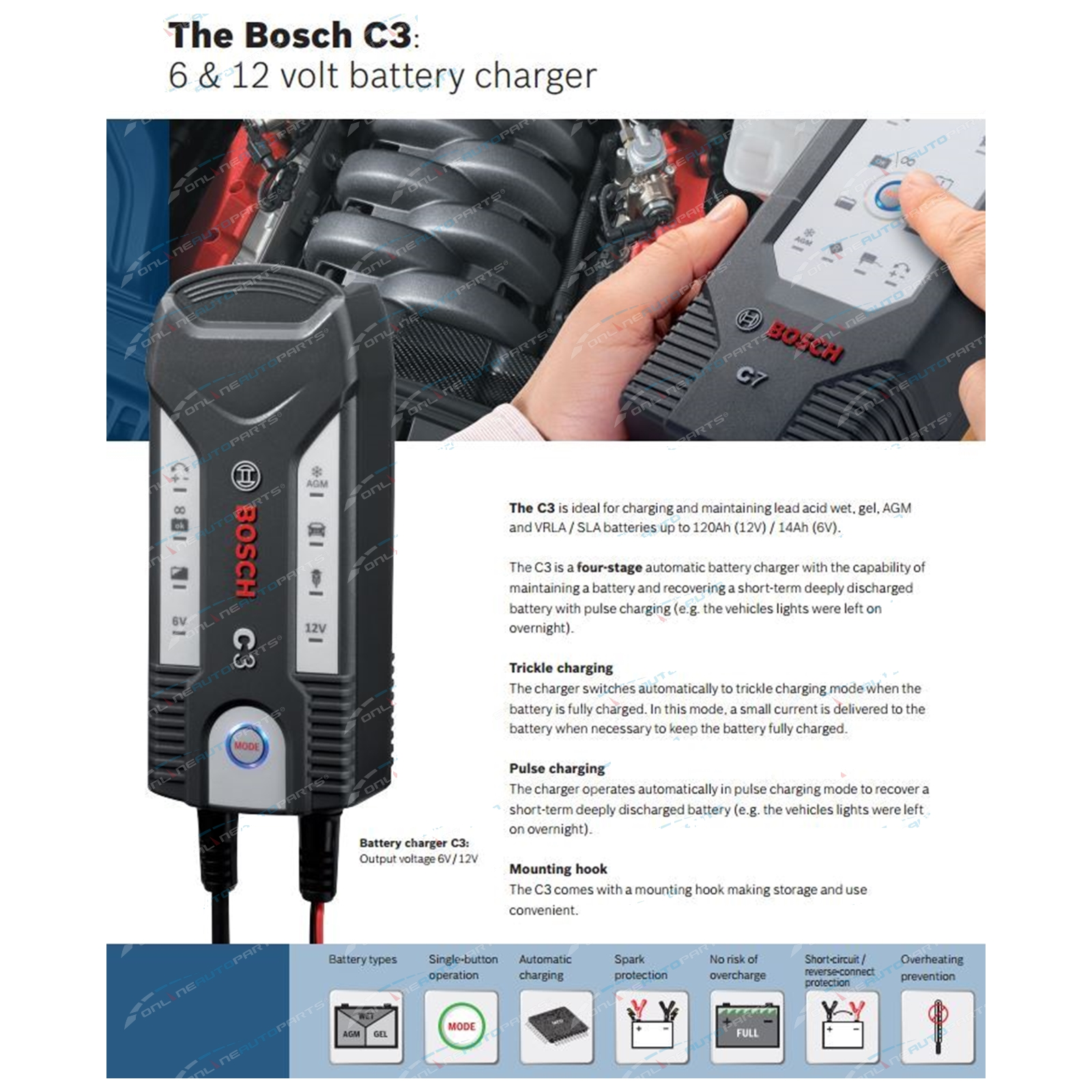 genuine bosch 3 8a c3 car bike battery charger 6v 12v agm. Black Bedroom Furniture Sets. Home Design Ideas