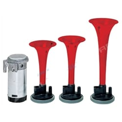 New Triple Trumpet Truck Air Horn Kit 24 volt Set Italian Design Stebel with Relay