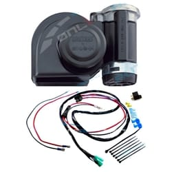 Stebel Nautilus Black Car Air Horn Kit 12 volt 139dB Incl Plug N Play Wiring Kit